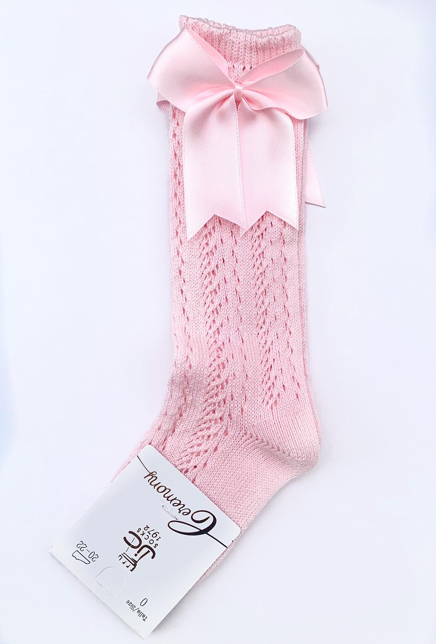 JC Socks JC Socks Pink Fine Knit High Knee Socks with Bows 31952