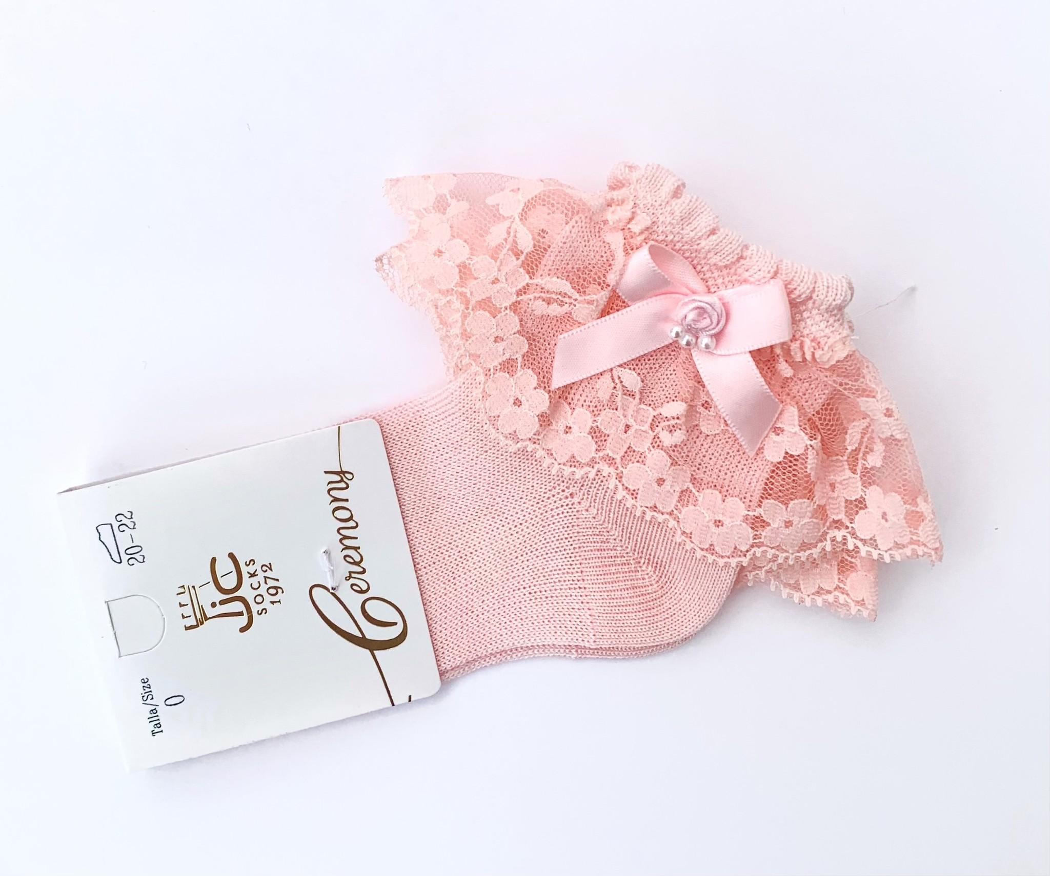 JC Socks JC Socks Pink Lace Ankle Socks 32635