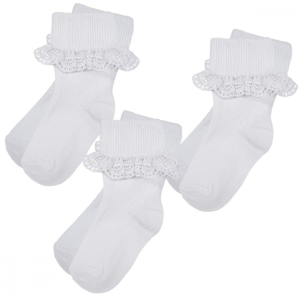 Pex Pex Girls 3pr Pack White Frilly Socks