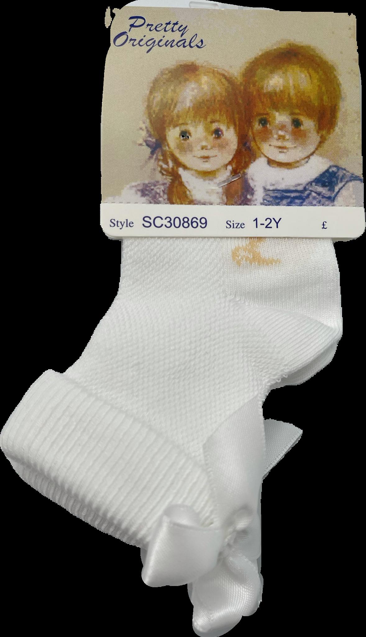 Pretty Originals Pretty Originals White Bow Ankle Sock