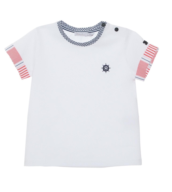 Patachou Patachou Round neck Checked Sailor T-Shirt 3353
