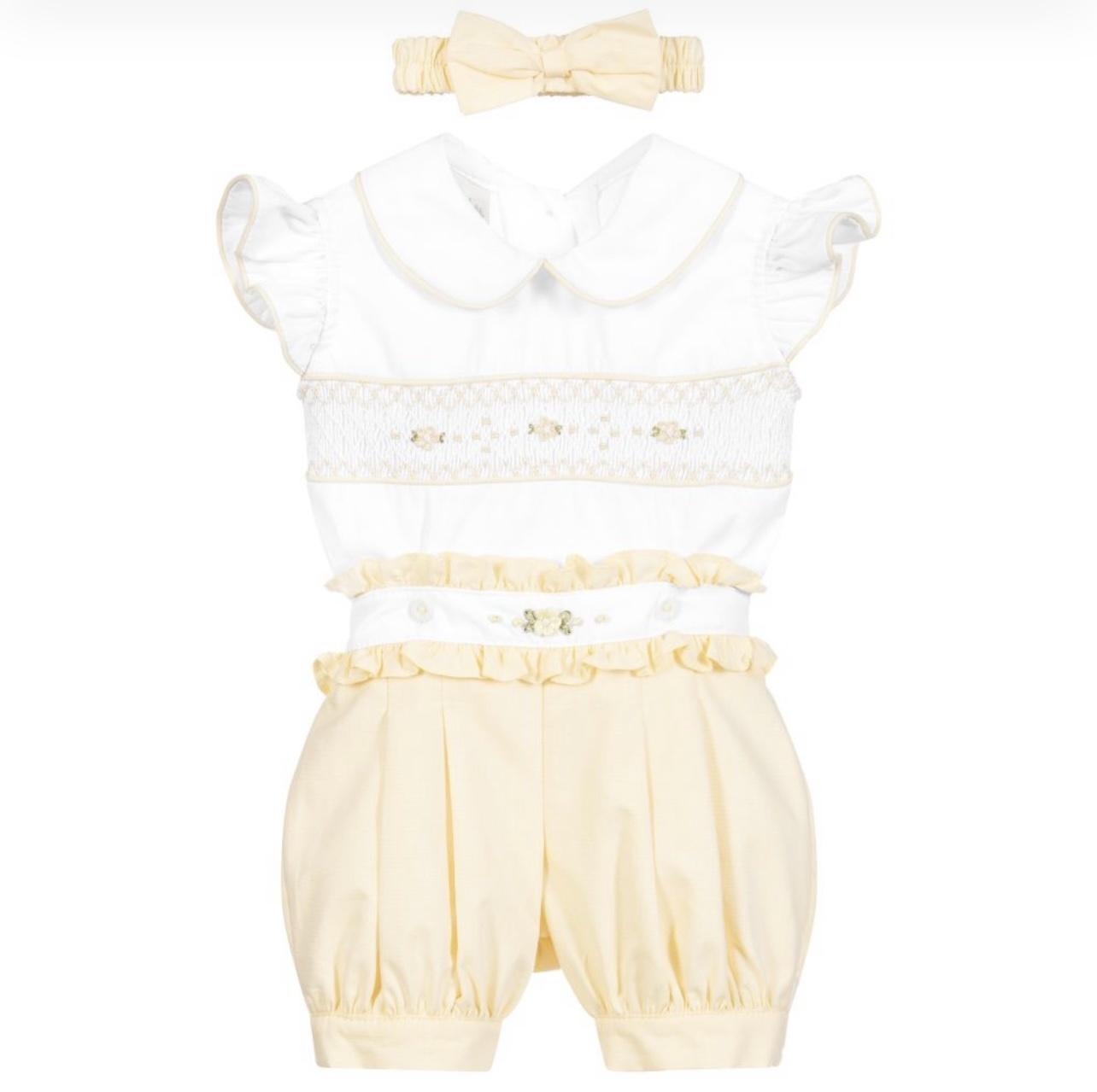 Pretty Originals Pretty Originals White and Yellow Smocked Set MT02115P S21