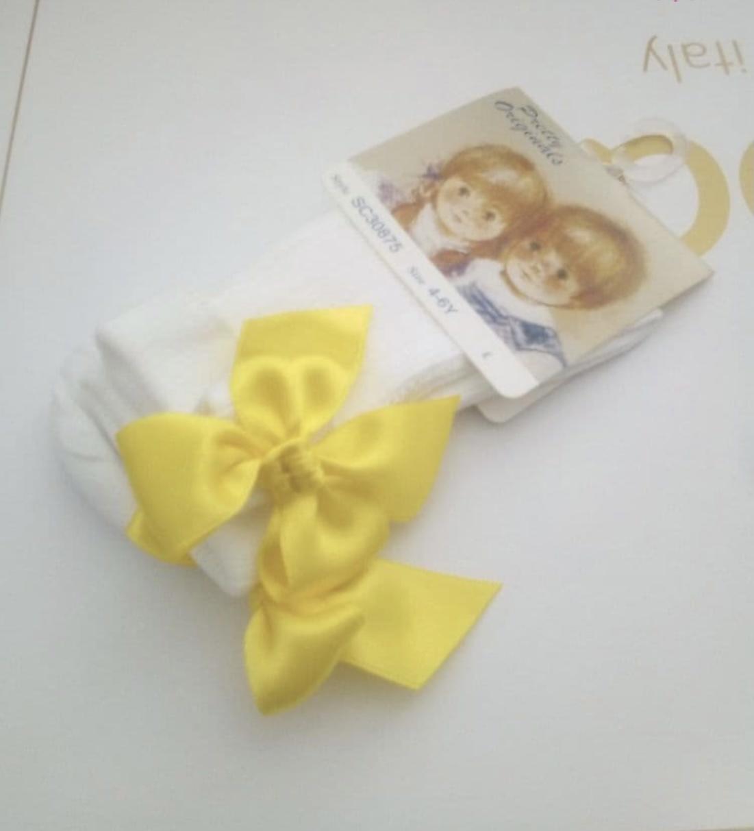 Pretty Originals Pretty Originals Yellow Bow Ankle Sock