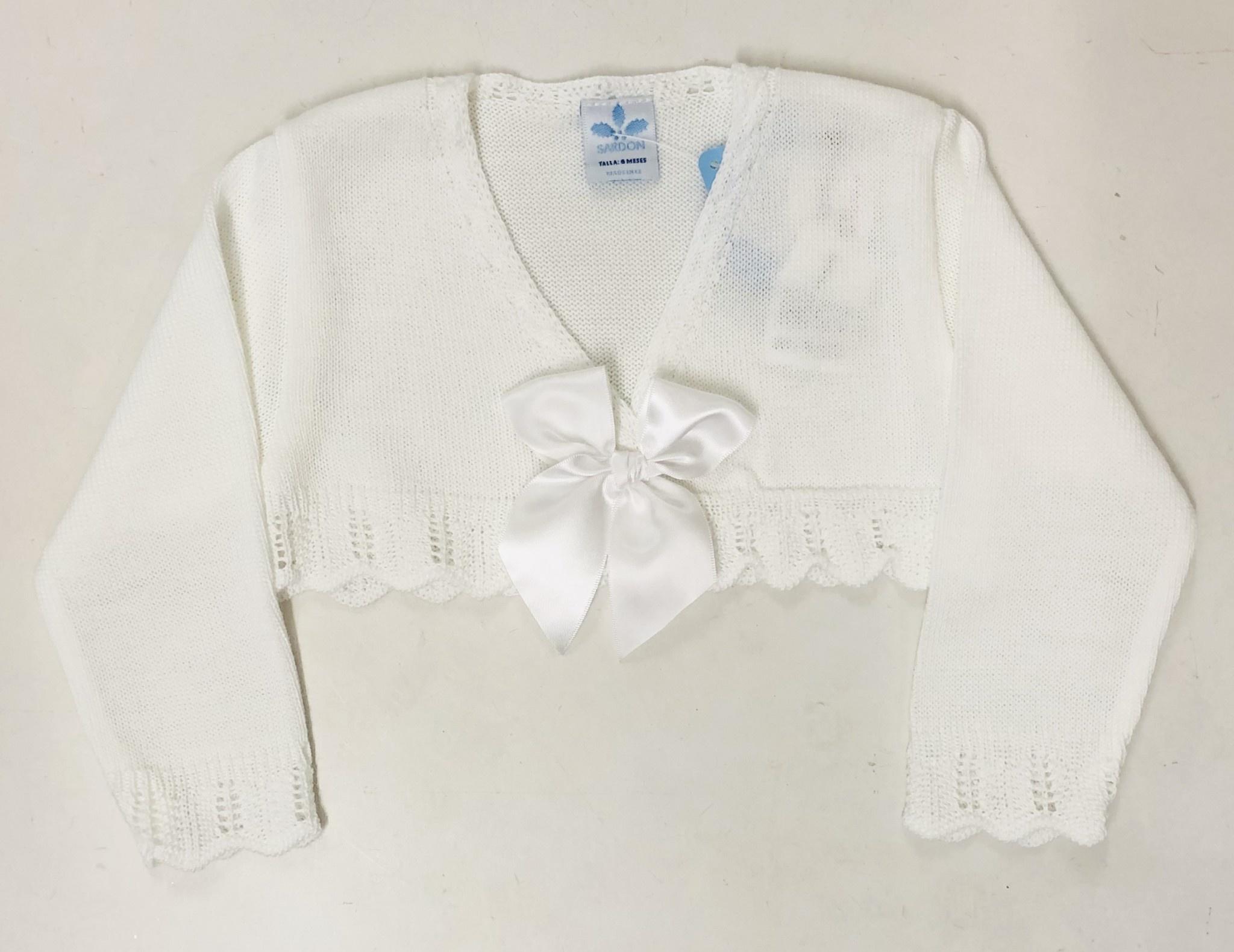 Sardon Sardon 19VE-180 White Cardigan With Bow 18MONTHS