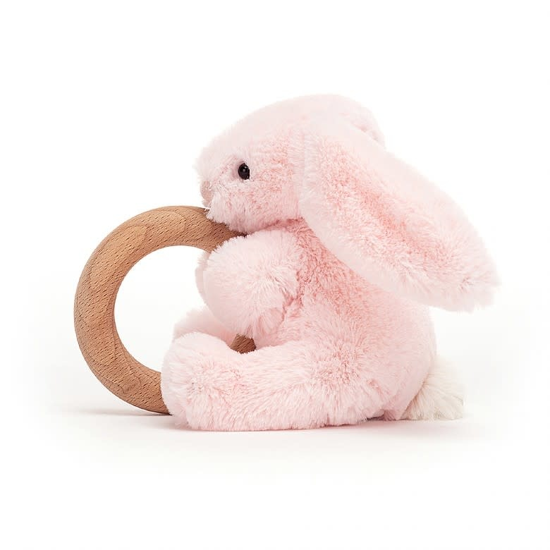 Jelly Cat JellyCat Bashful Pink Bunny Wooden Ring Toy