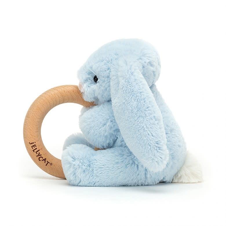 Jelly Cat JellyCat Bashful Blue Bunny Wooden Ring Toy