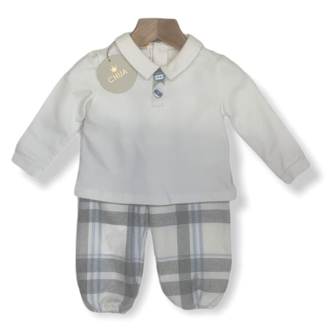 Chua Chua Boys Blue / Grey Check Top & Trouser Set