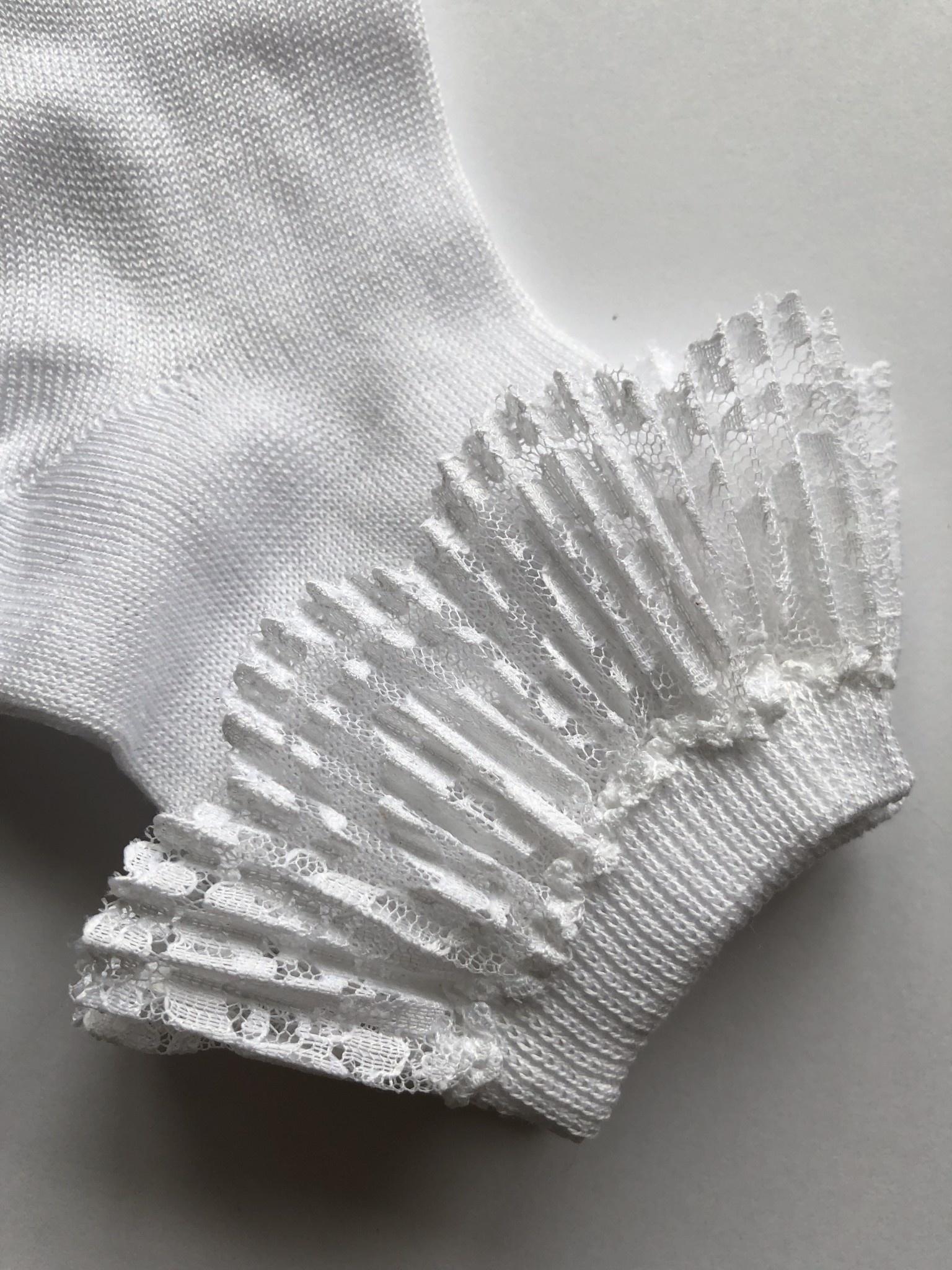 JC Socks JC Socks 32632 White Ankle sock,Pleated Lace Ruffle