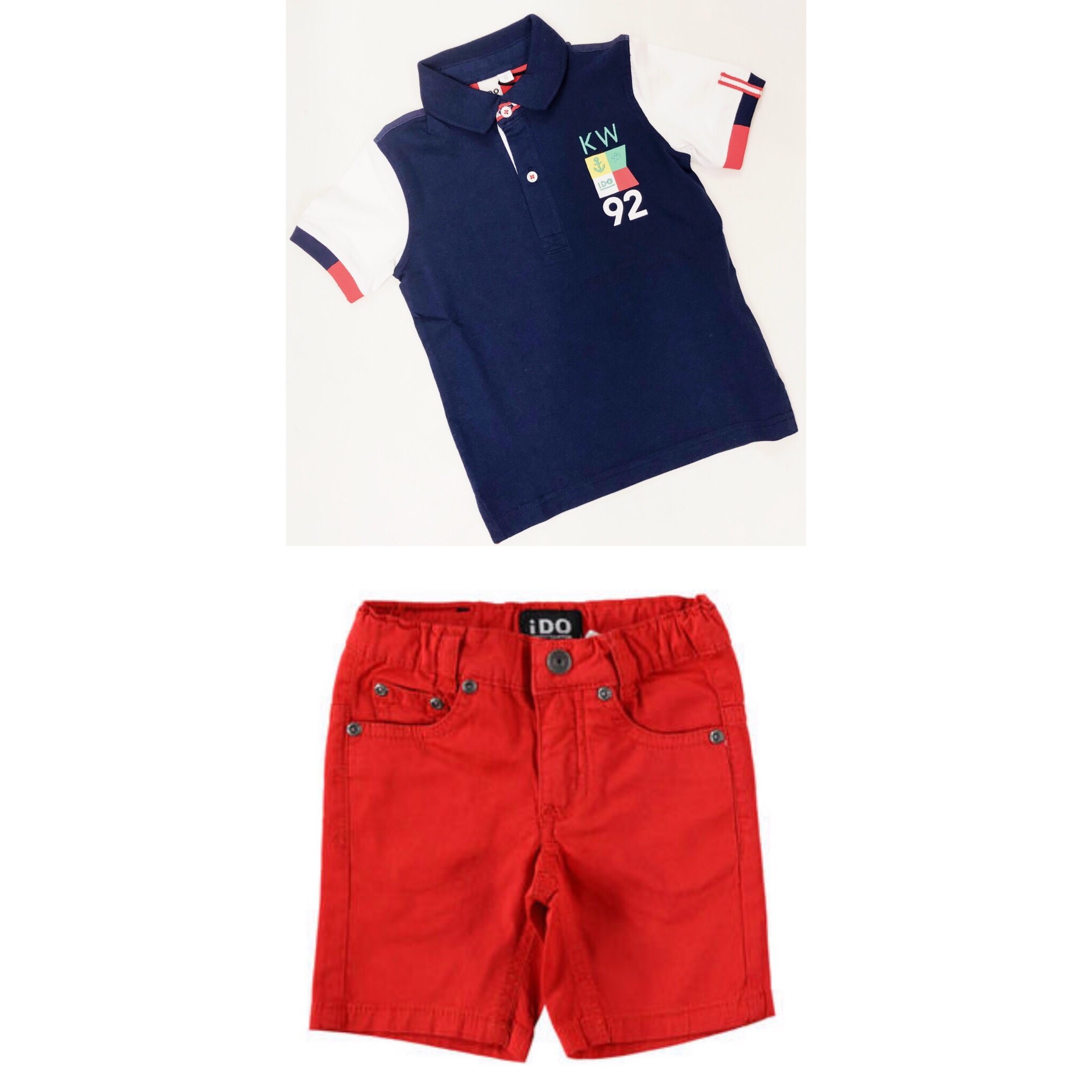 Ido IDo Navy Polo Shirt and Red Short Set