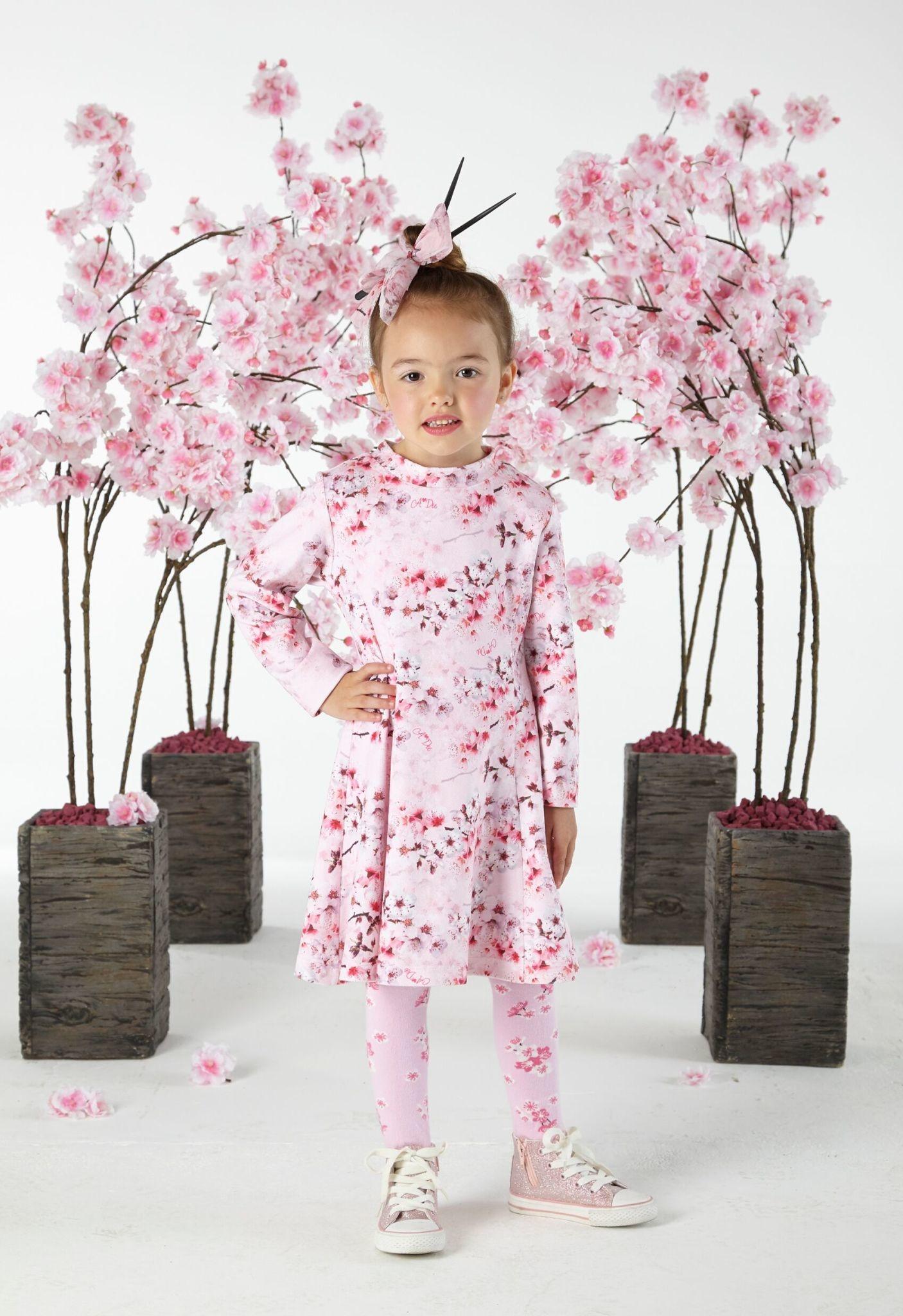 A Dee ADee W191703 Dream Blossom Pink Print Dress
