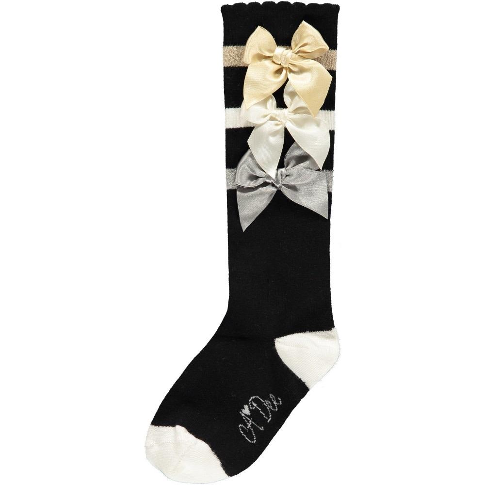 A Dee ADee W192910 Ally Black Bow Sock