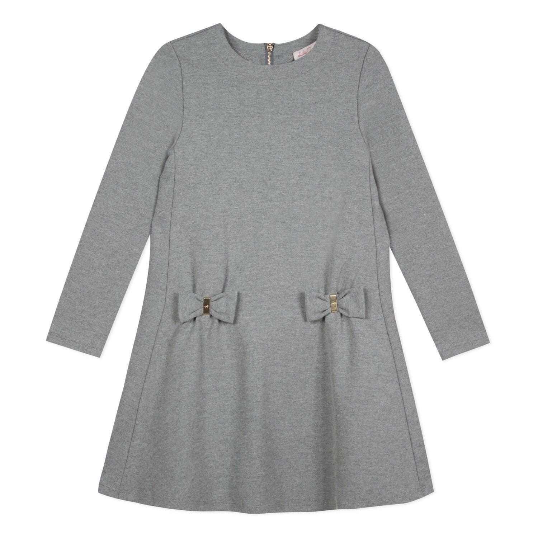 Lili Gaufrette Lili Gaufrette Grey Bow Dress