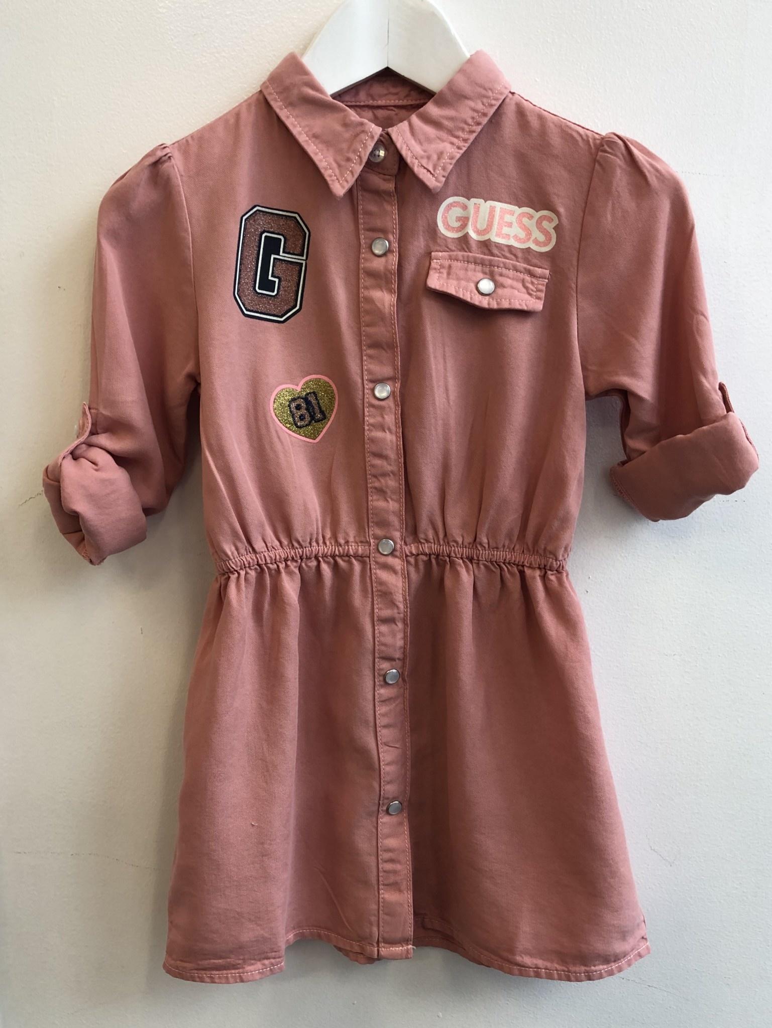 Guess Guess Girls Pink Shirt Dress With Elastic Waist