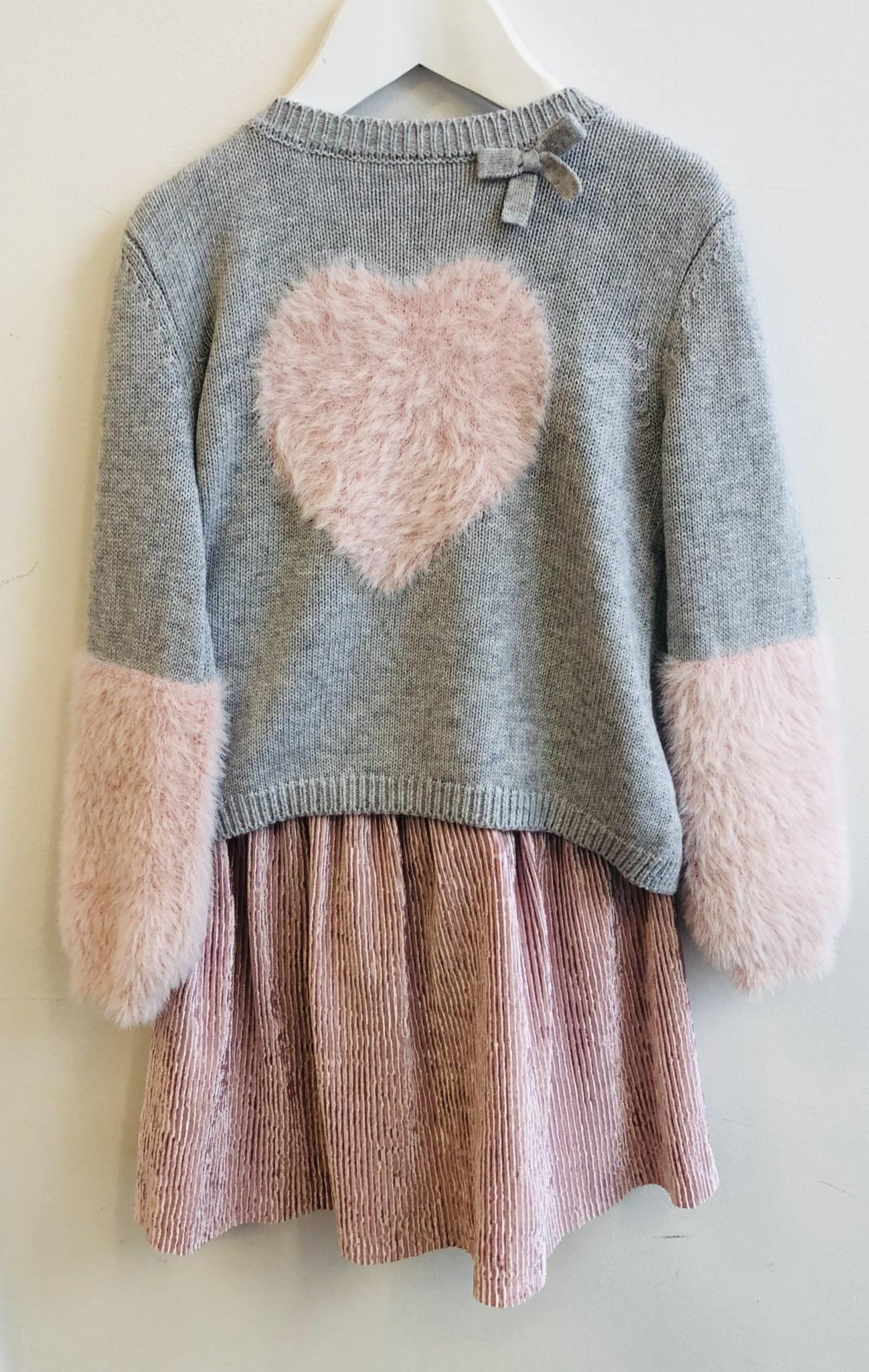 Ido Ido Grey &Pink Heart, Jumper & Skirt Set
