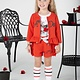 A Dee ADee Ada Poppy Red Textured Fleece Jacket