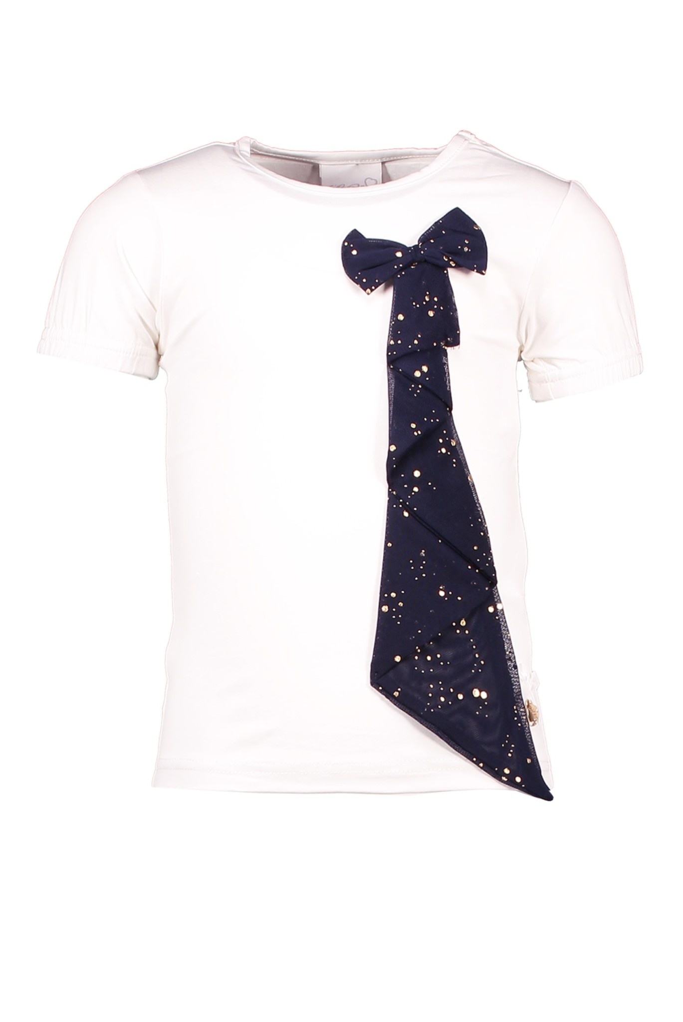 Lechic Le Chic Off White T-Shirt With Navy Bow