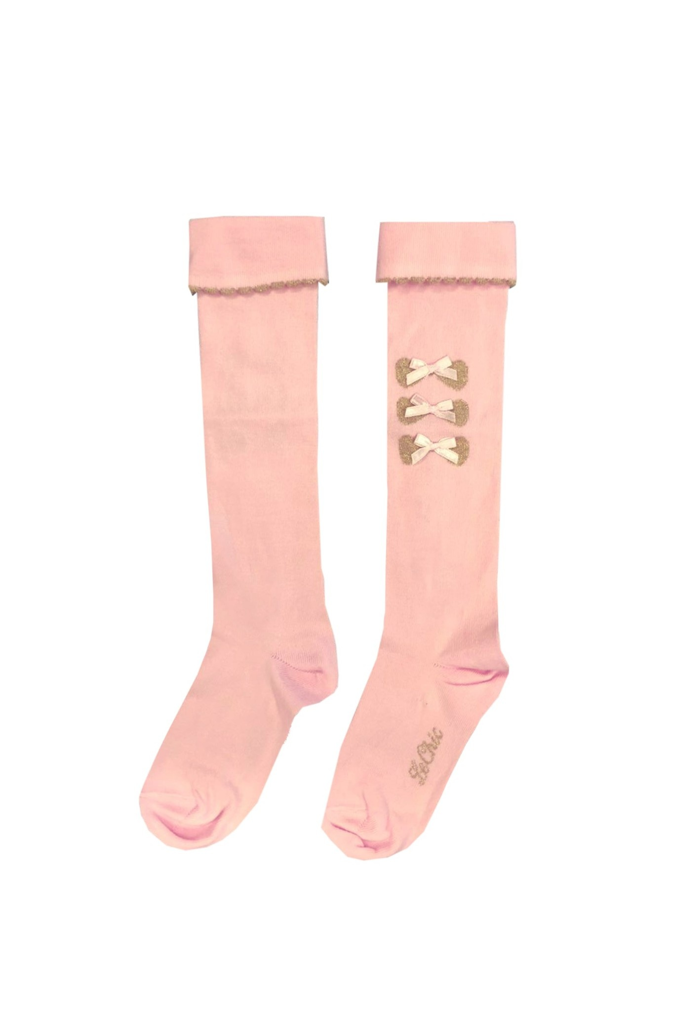 Lechic LeChic Pink Knee-high Sock With gold Bows