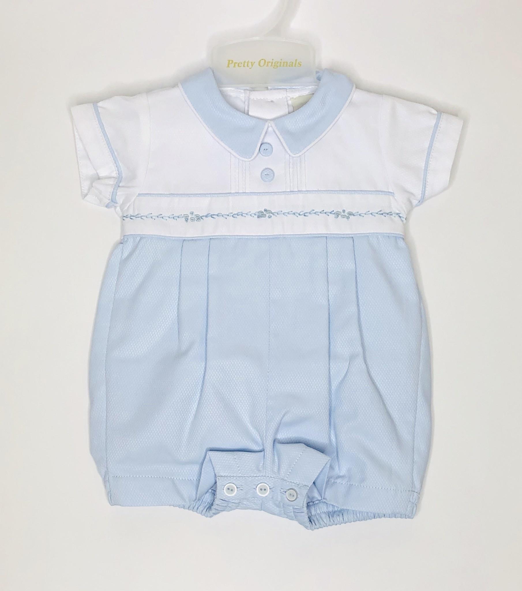 Pretty Originals Pretty Originals Dl61973E Boys Blue/White Romper