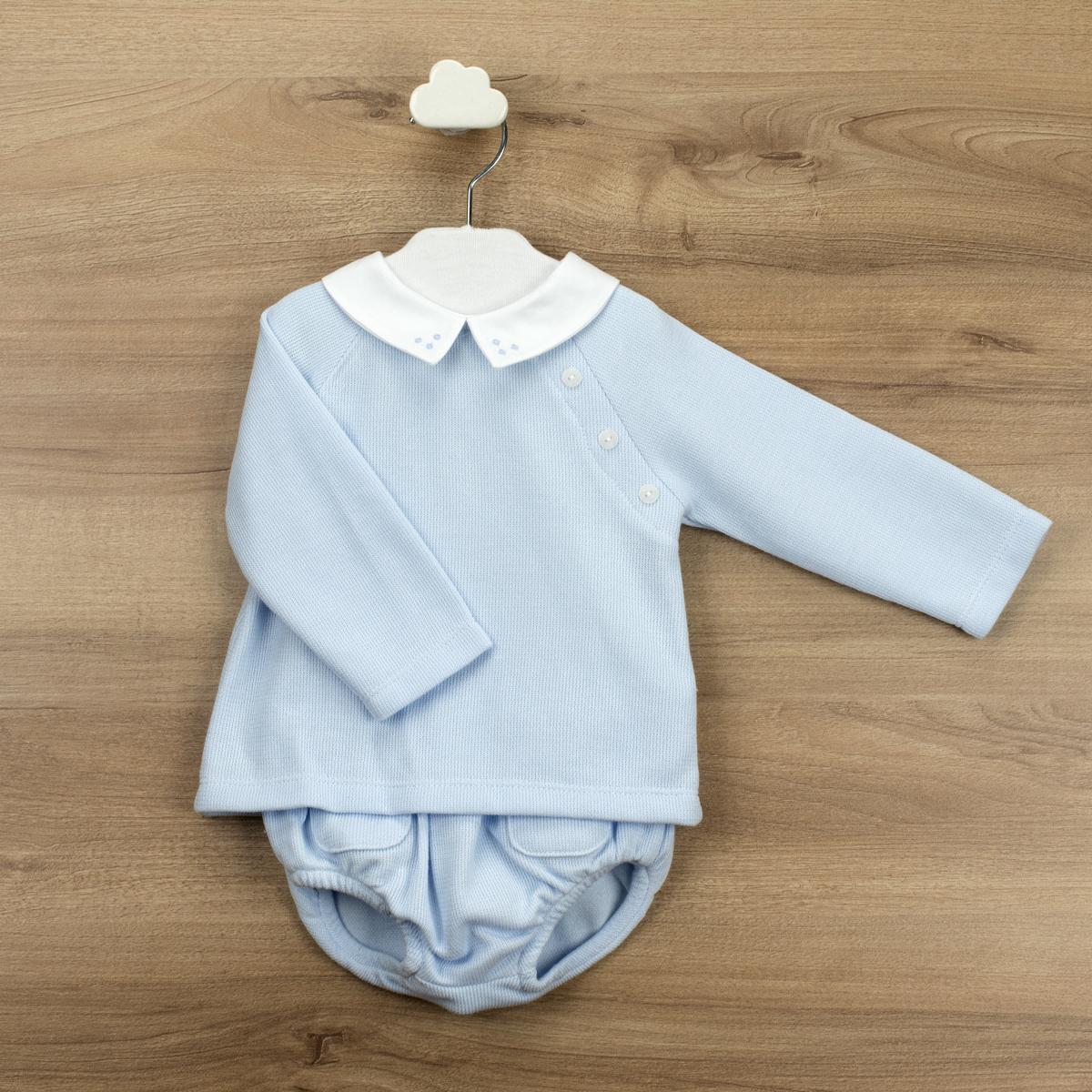 Babidu Babidu Blue Knitted Boys Shorts Set - 40365