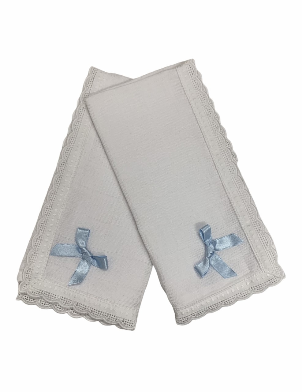 Babidu Babidu Blue Bow Muslin Cloths (2 Pack) - 300