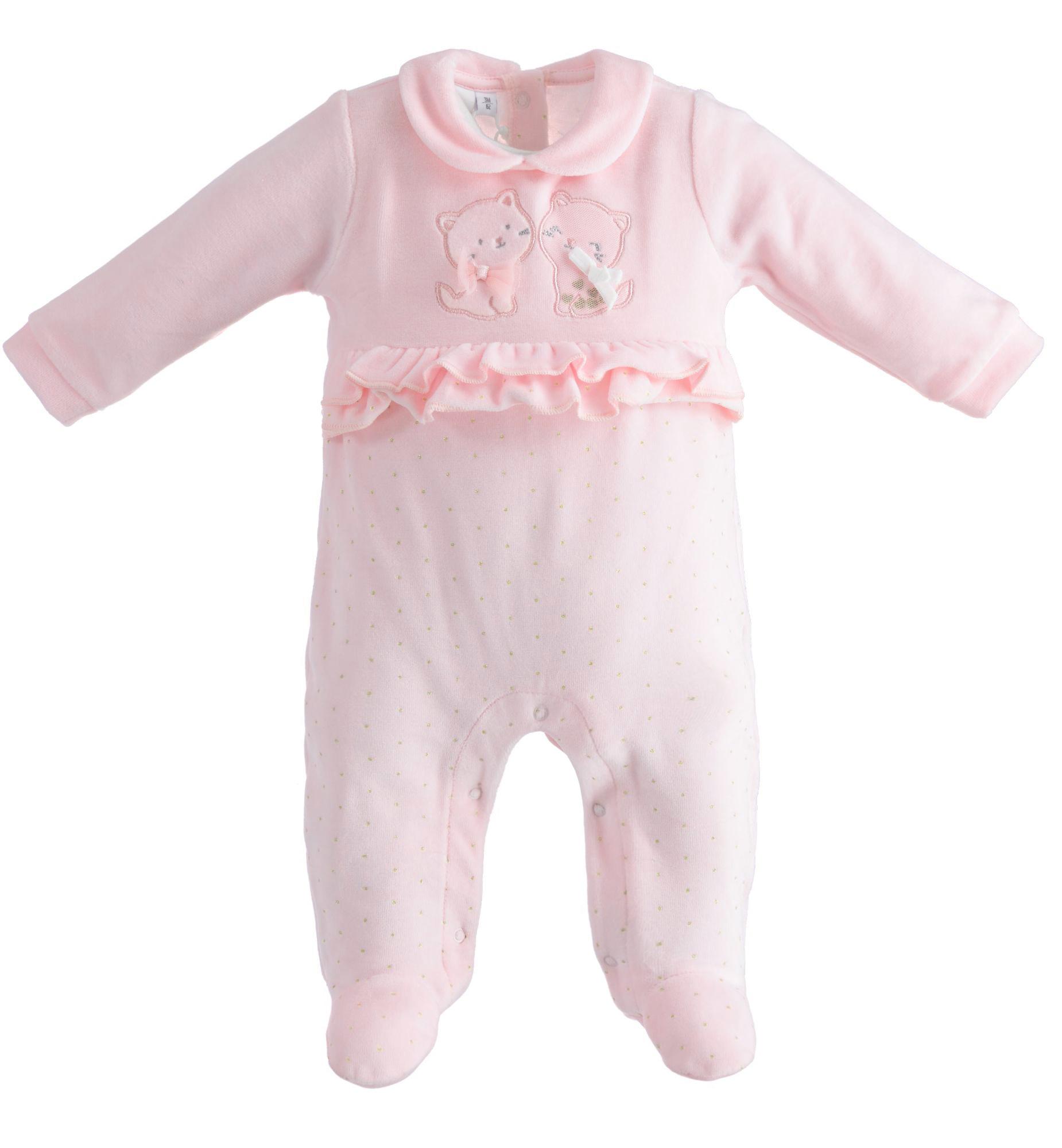 Ido iDO Pink Velour Frill Babygrow - 43260 AW21