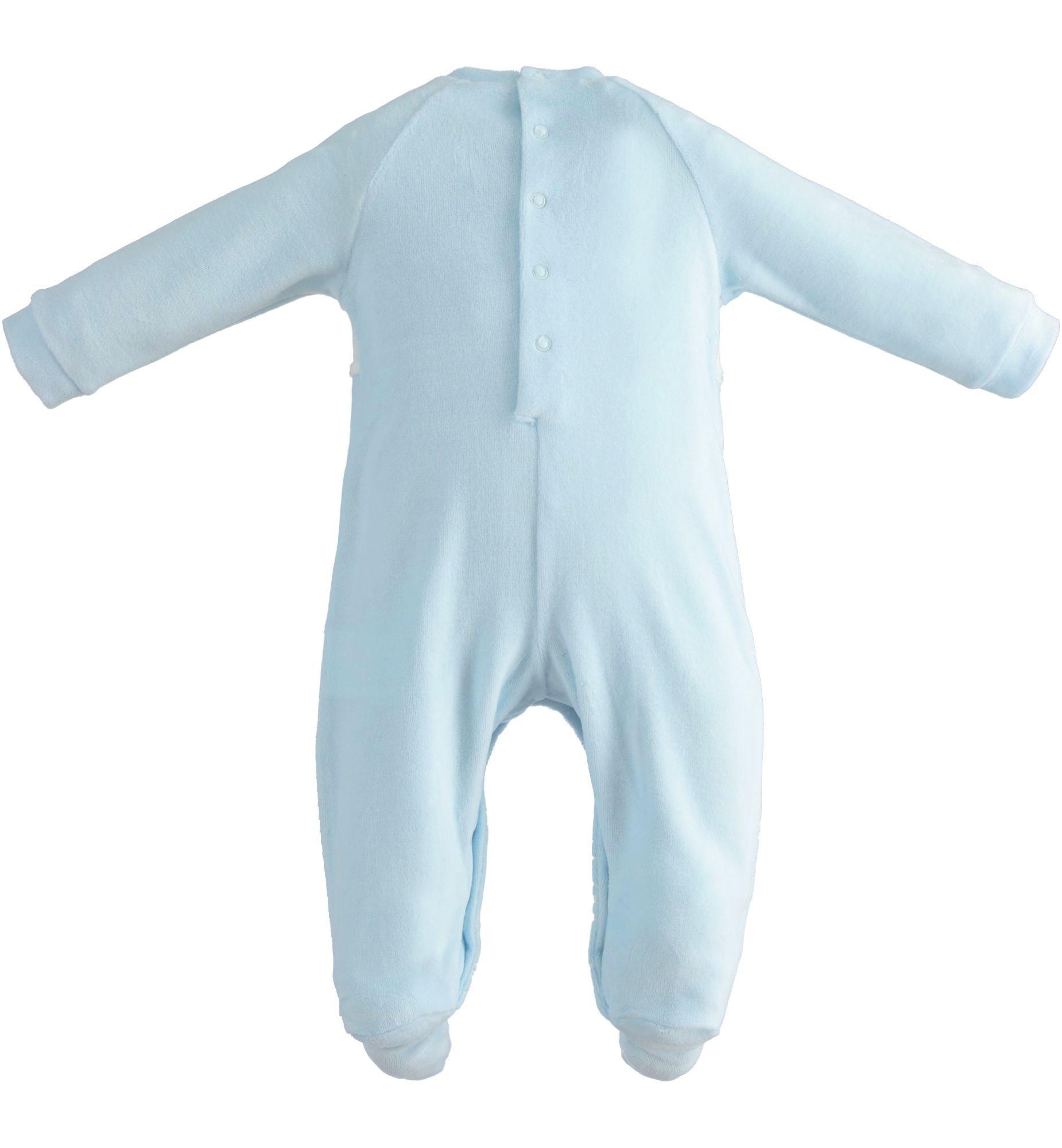 iDO Blue Velour Bear Babygrow - 43160