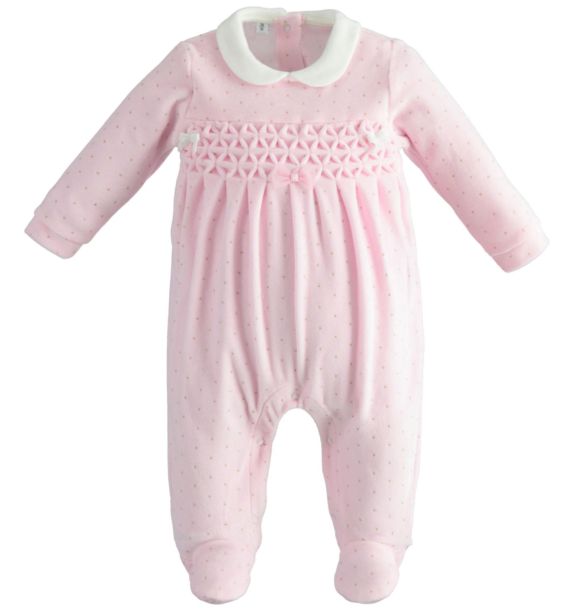Ido iDO Pink Velour Bow Babygrow - 43258 AW21