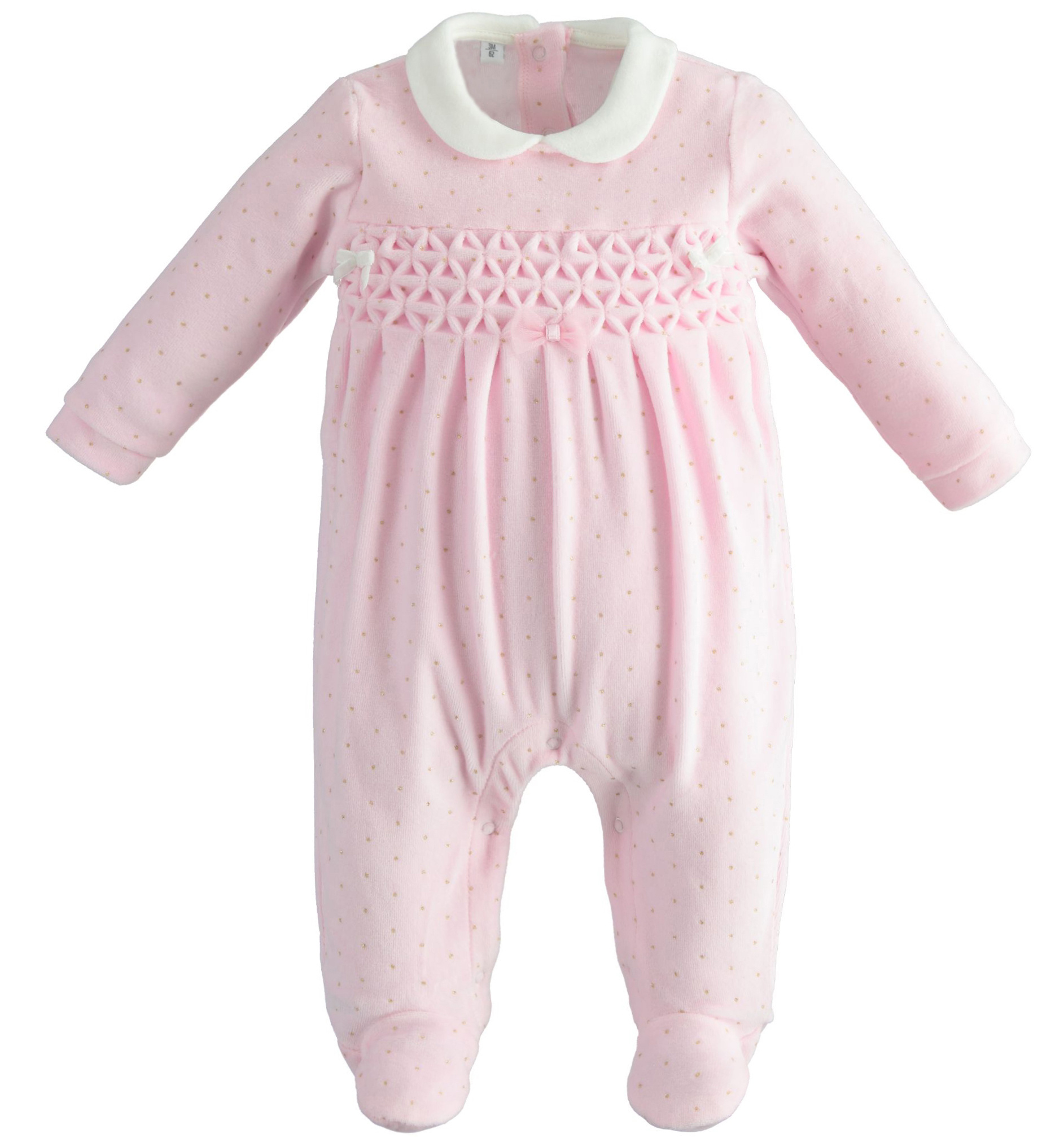 Ido iDO Pink Velour Bow Babygrow - 43258