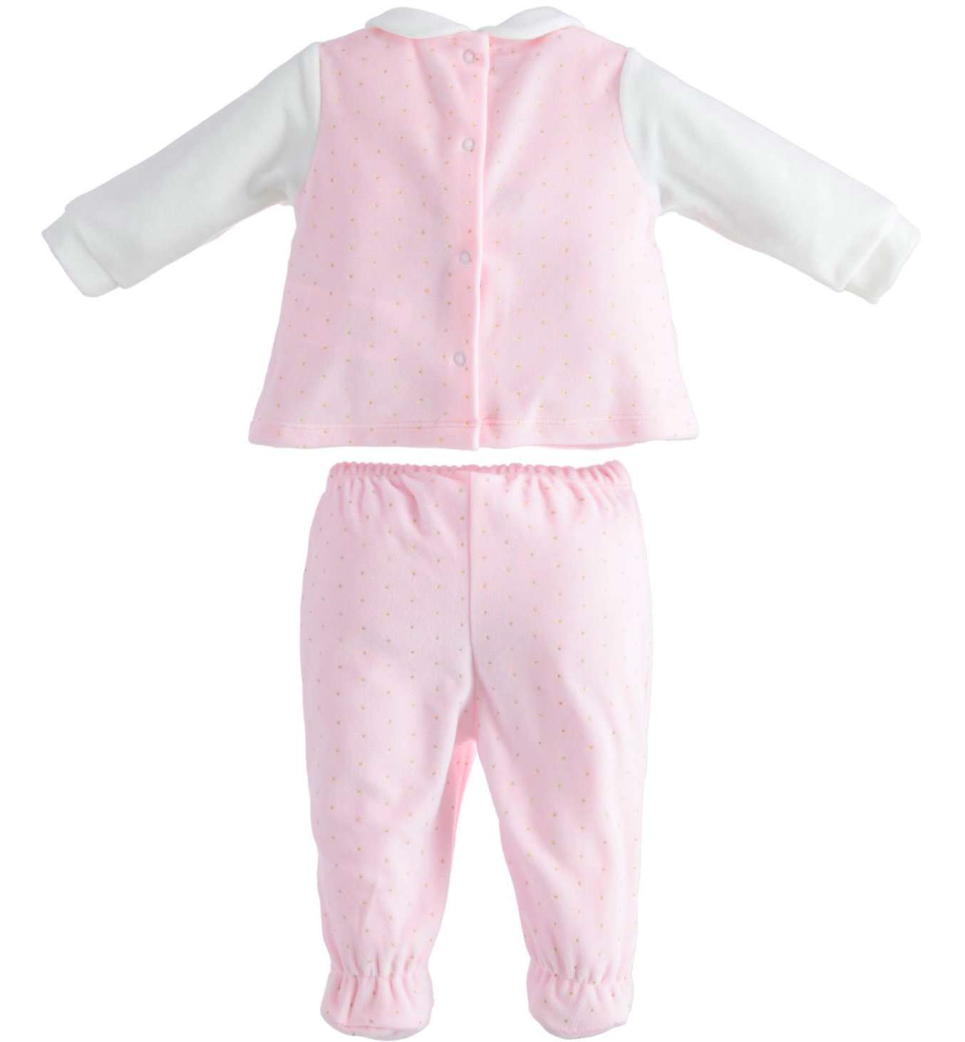 iDO Pink and White Velour Two Piece - 43250