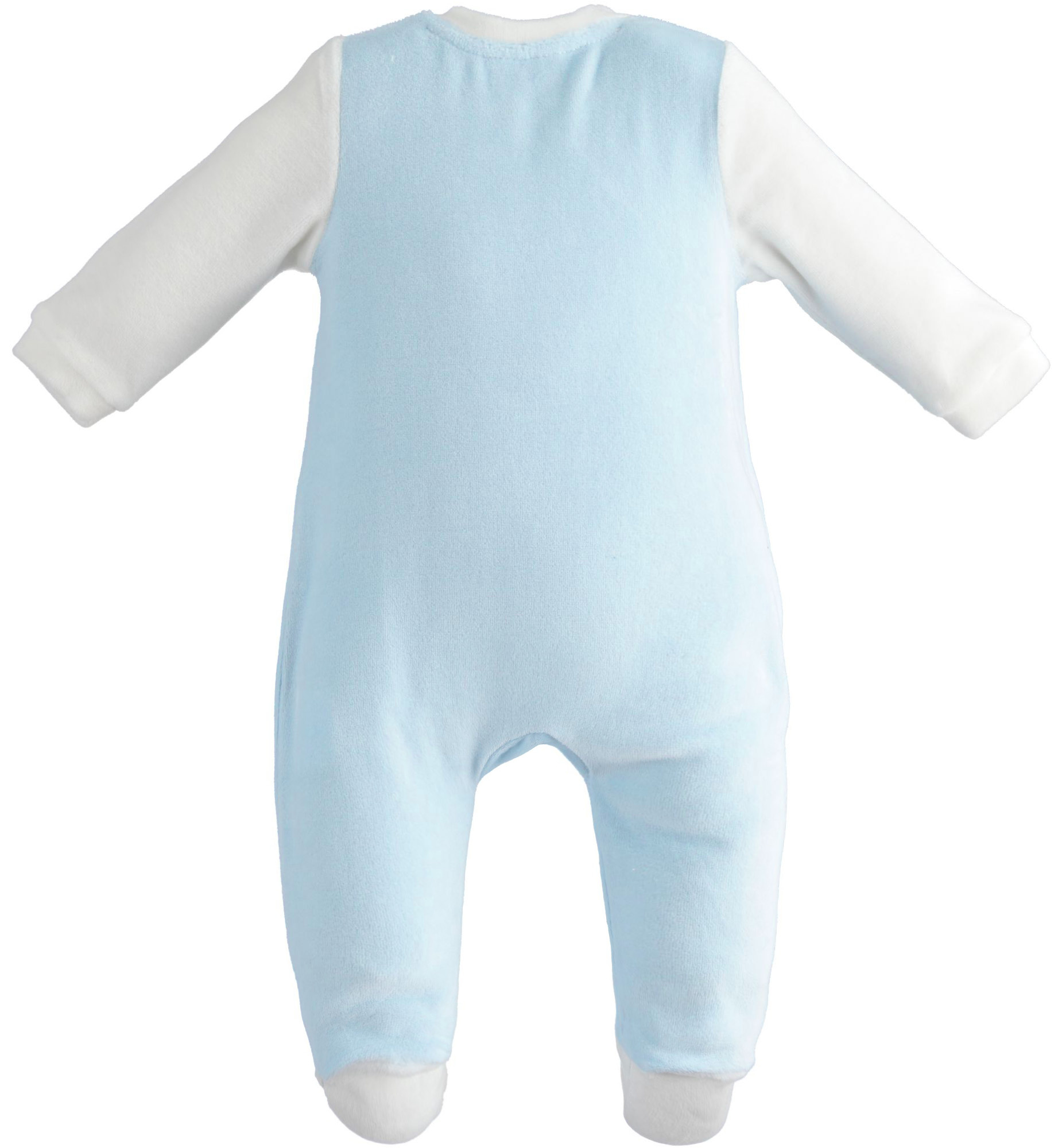 Ido iDO Blue and White Velour Babygrow - 43161