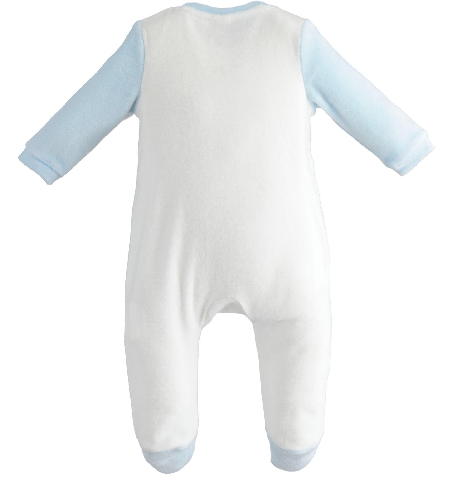 Ido iDO White and Blue Velour Babygrow - 43161