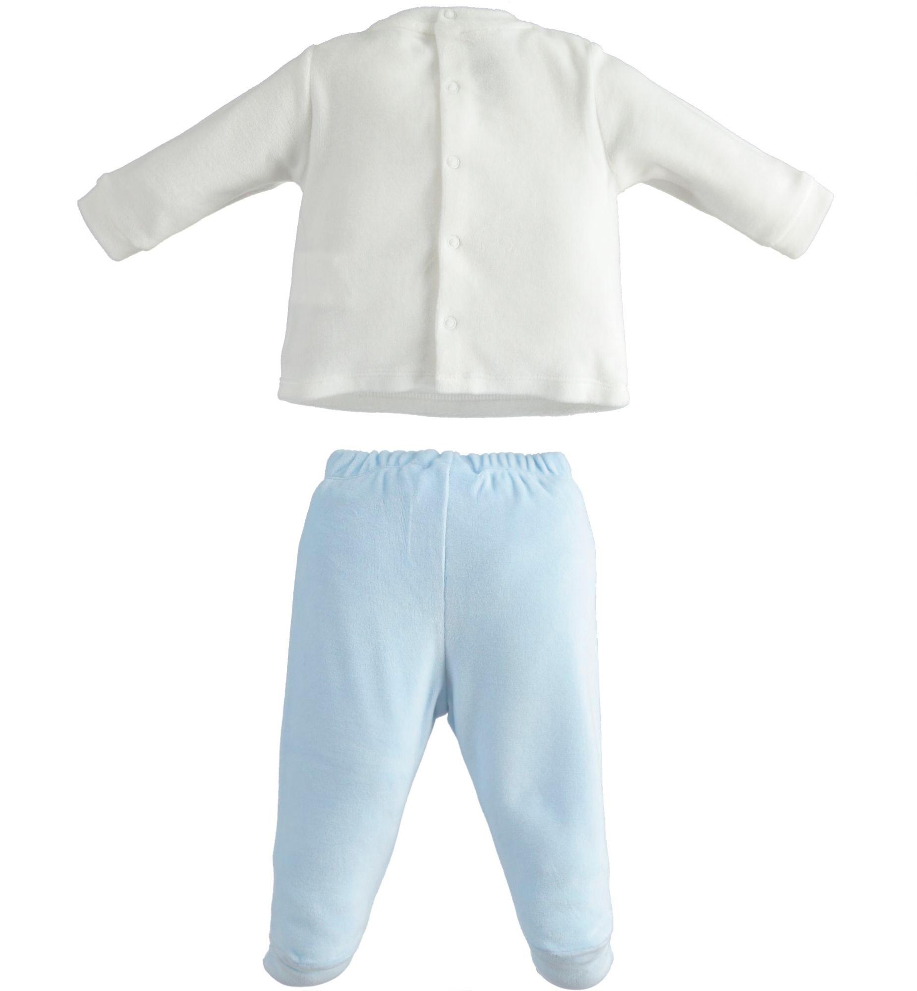 Ido iDO Blue and White Velour Two Piece - 43150