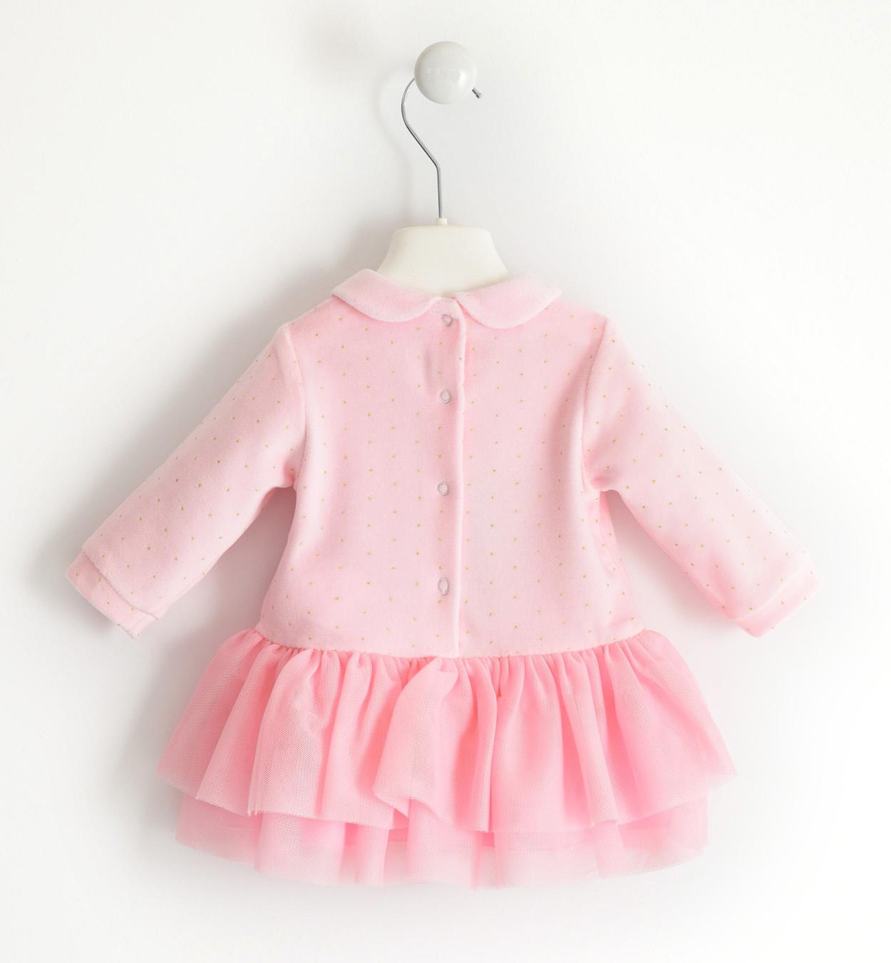 Ido iDO Pink Velour Dress - 43242
