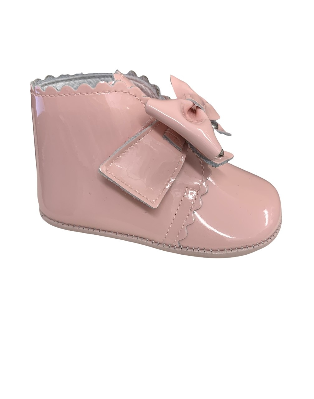 Andanines Andanines Pink Patent Pram Boot with Bow - 212034