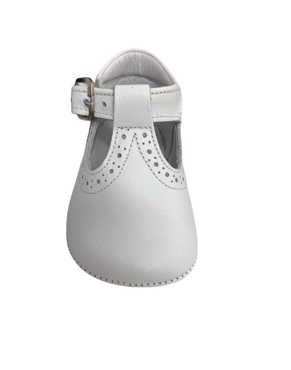 Andanines Andanines White Leather Pram Shoe 202801