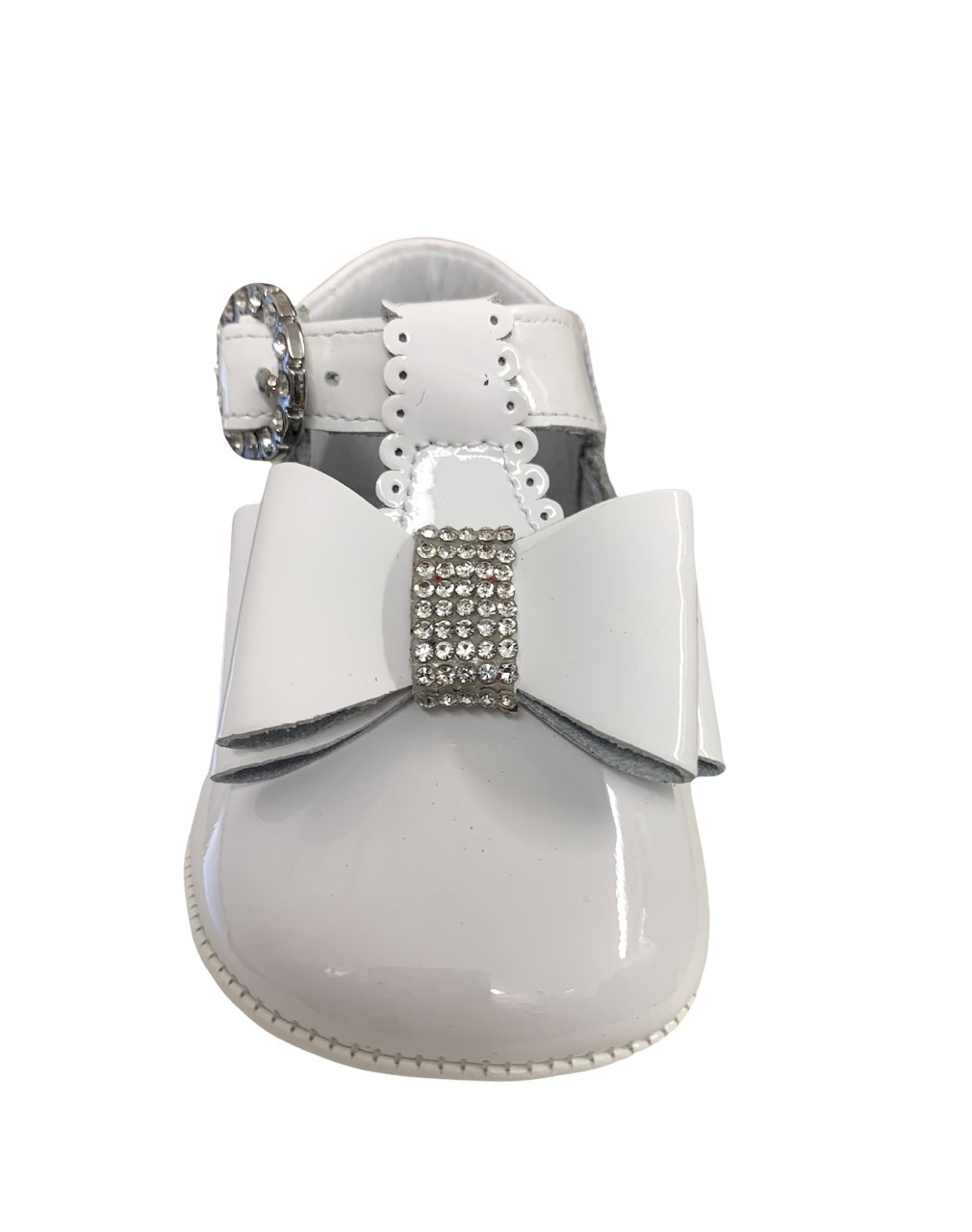 Andanines Andanines White Patent Pram Shoe with Bow - 202803