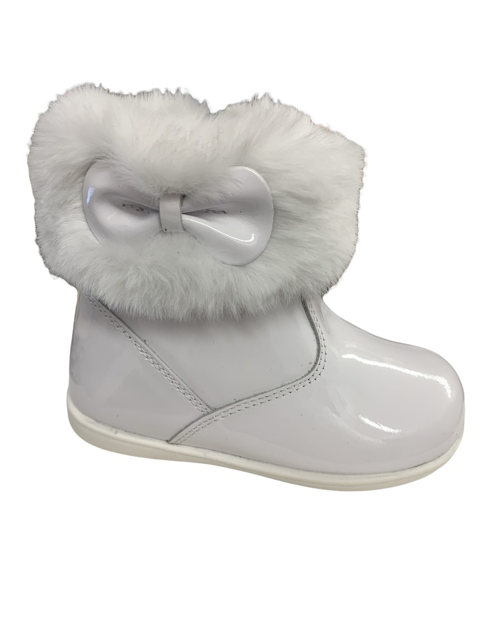 Andanines Andanines White Patent Bow Boot with Fur - 212402
