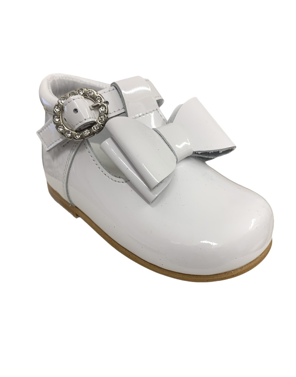 Andanines Andanines White Patent Bow Shoe - 211183