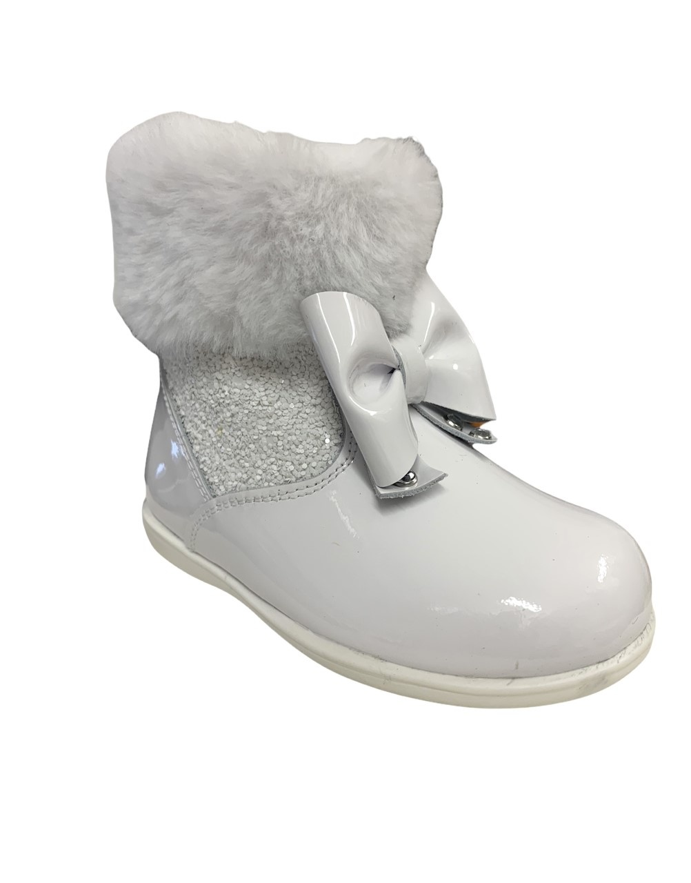 Andanines Andanines White Patent Bow Boot with Fur - 212401