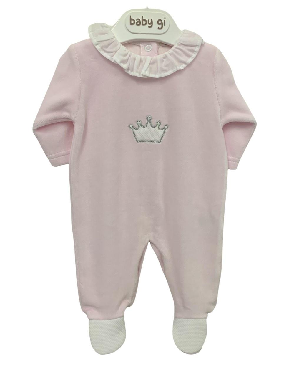 Baby Gi Baby Gi Pink Velour Crown Babygrow