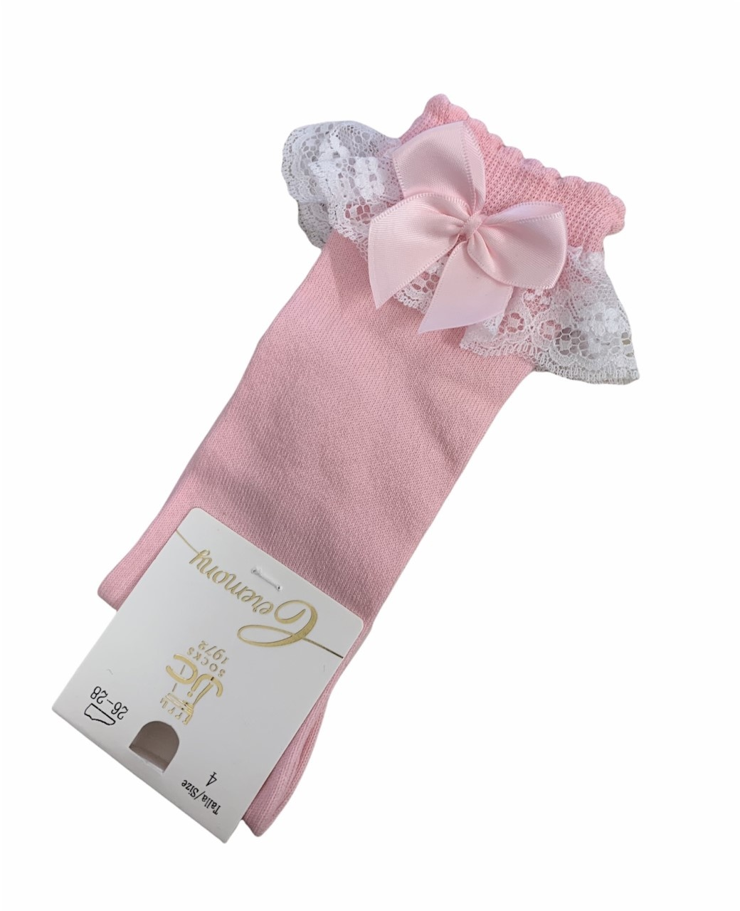 JC Socks JC Socks 56300 Pink Lace Frill Sock With Bow