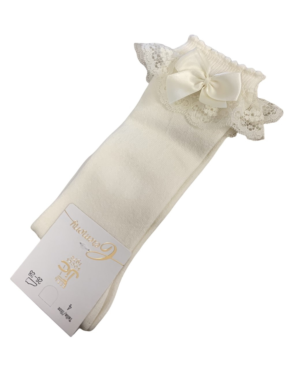 JC Socks JC 56300 Cream Lace Frill Sock With Bow