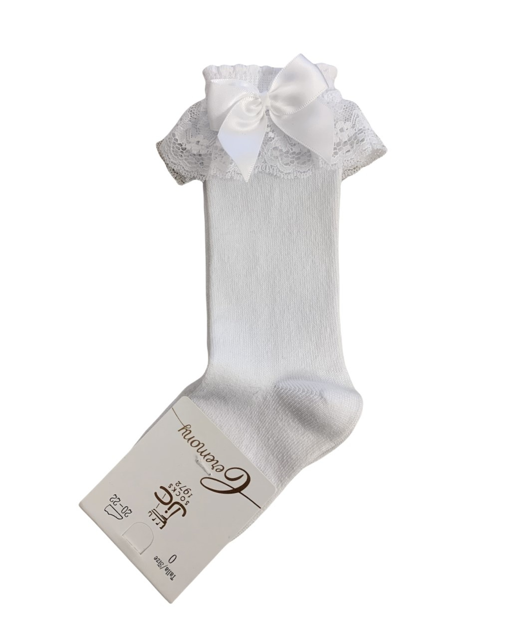 JC Socks JC Socks 56300 White Lace Frill Sock With Bow
