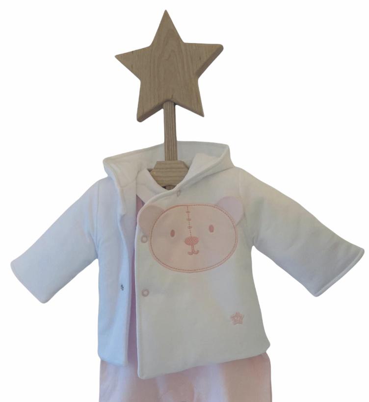 Little Lads & Ladies Little Lads & Ladies Pink Bear Front Jacket LL09