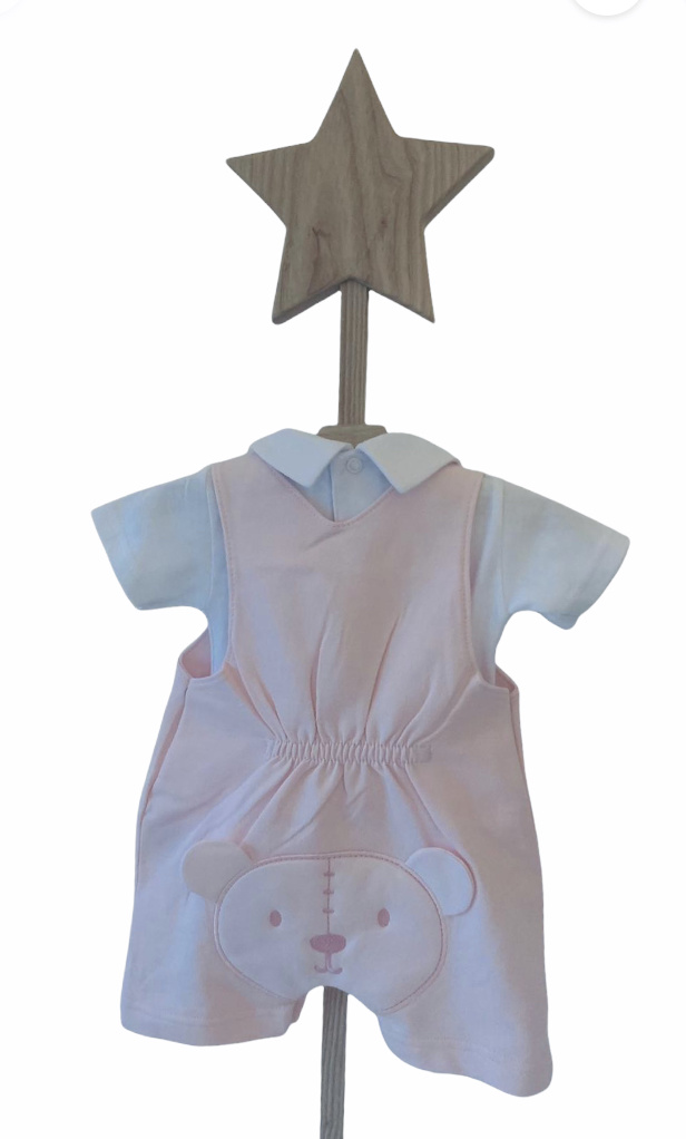 Little Lads & Ladies Little Lads & Ladies Pink Bear Bum Dungaree Set LL08