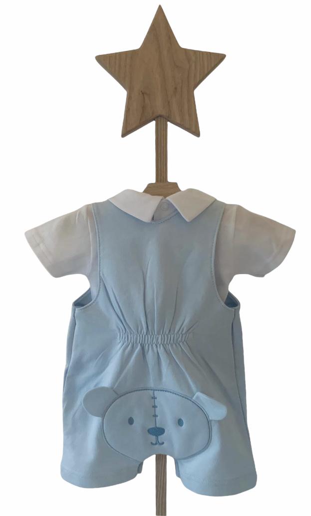 Little Lads & Ladies Little Lads & Ladies Blue Bear Bum Dungaree Set LL08