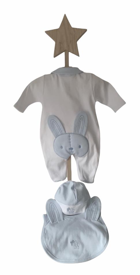 Little Lads & Ladies Little Lads & Ladies Blue Rabbit Bottom Babygrow LL03