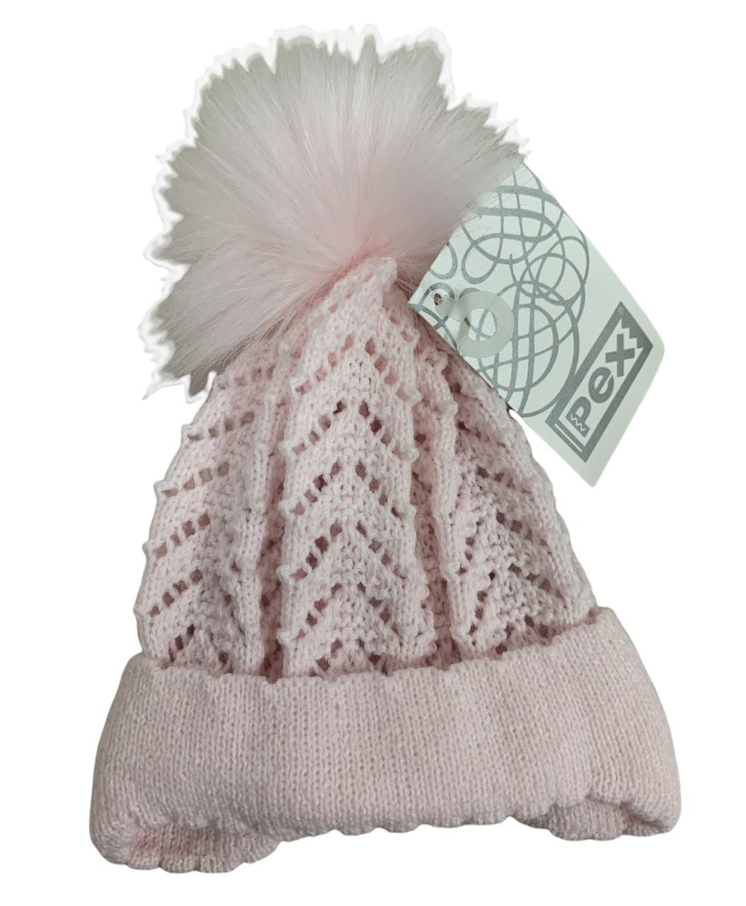 Pex Pex Knit Pink Hat With Faux Fur Pom - 6-12M