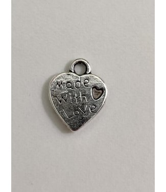 None Label metalen bedel - Made With Love 1,3 cm