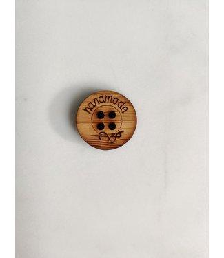 None Label hout knoop - handmade 2 cm